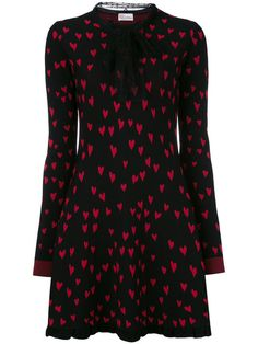 Red Valentino heart print knitted dress