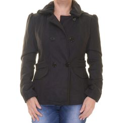 CelebrityPink Juniors Double-Breasted Faux-Wool Peacoat with Side Tabs