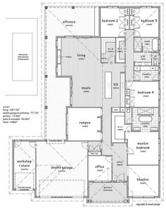 Floor Plan Friday: Work from home office, plus rumpus and pool home offices office ideas for men office ideas for women office ideas layout office ideas on a budget Micro House Plans, L Shaped House Plans, Best House Plans, Dream House Plans, House Floor Plans, House Plans Australia, Office Floor Plan, Home Design Floor Plans, House Blueprints