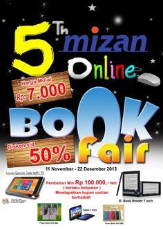 5th Mizan Online Bookfair, Diskon Up to 50% .. dapatkan kupon undian untuk mendapatkan hadiah menarik dgn belanja minimal Rp 100.000