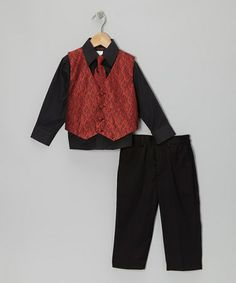 Take a look at this Red Geometric Vest Set - Toddler & Boys by American Exchange on #zulily today!