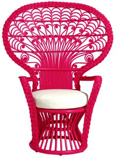 peacock rattan chair pink color