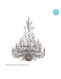 Grote hanglamp kroonluchter grijs, wit, zwart, roest, beige of goud voor 30 kaarslampen