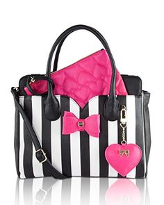 Betsey Johnson Dip Removable Pouch Satchel Bag - Stripe- Need this in my life. Betsy Johnson Purses, Betsey Johnson Handbags, Fashion Handbags, Purses And Handbags, Fashion Bags, Backpack Purse, Satchel Bag, Beautiful Handbags, Cute Purses