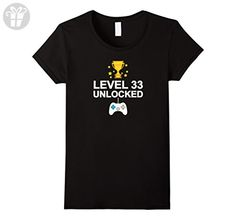 Womens 33th Birthday Level 33 Unlocked Funny T-shirt Gift Vintage XL Black - Birthday shirts (*Amazon Partner-Link)