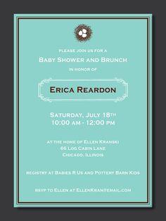 Bird Nest Baby Shower Invitation