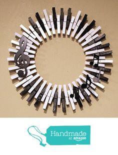 Music Lover Piano Wreath. Treble Clef, music notes on piano key background clothespin wreath. #handmadeatamazon