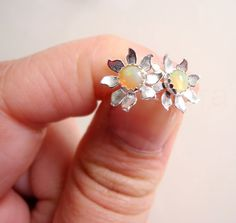 Opal Earring Studs Flower Opal Earrings Sterling by MistyAurora