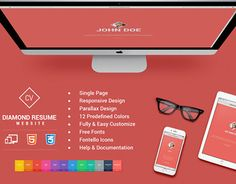 """Responsive HTML5 Diamond Resume CV by Pixel Strawberry"" http://on.be.net/1LXT2QO"