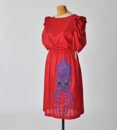 SALE dress vintage red with a bespectacled squid - medium - upcycled clothing. $24.00, via Etsy.