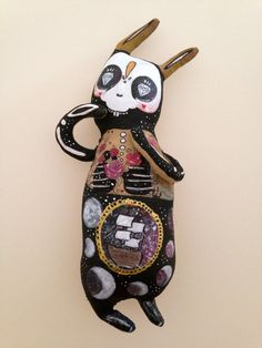 March Hare - OOAK art doll, rabbit, Universe - Stars-  Day of the Dead Skeleton Plush- Vintage - Gold and Galaxy- Moons - Made to Order