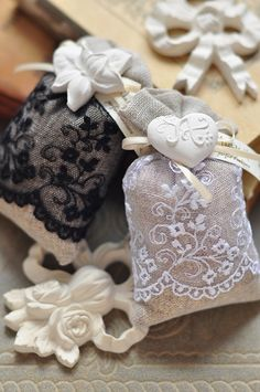 linen and lace sachets
