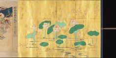 An Illustrated image of the Lotus Sūtra, which is highly revered in Nichiren Buddhism. From the Kamakura period, circa 1257. Ink, color, and gold leaf on paper.
