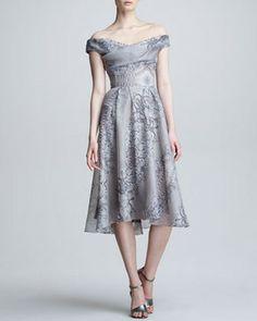 Lela Rose Lace & Pearl Printed Silk Dress on shopstyle.com