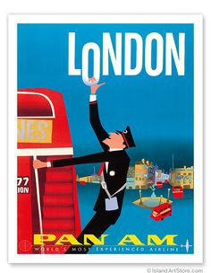 Aaron Fine  London - Double Decker Buses, Bovril and Schweppe - Pan American World Airways - Giclée Art Prints & Posters