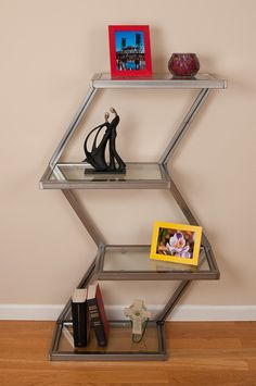 Zig Zag Display Shelf by on Etsy. Iron Furniture, Diy Pallet Furniture, Steel Furniture, Upcycled Furniture, Home Decor Furniture, Industrial Furniture, Furniture Design, Stainless Steel Coffee Table, Geometric Furniture
