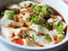 Silken Tofu with Soy Sauce and Chili Oil--tastes like what it sounds. If you like tofu you'd like this.