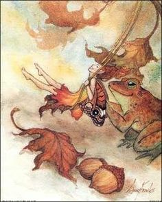 Autumn fairy and toad