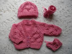 Ravelry: Knitting Pattern No. 15 Premature Baby Lacy Cardigan Set pattern by Lynne Christie