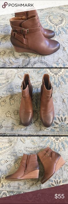 Lucky Brand wedge boots. Very nice pair of lucky brand wedge boots.Two toned with zipper.This boots are like new.  EUC❤️️ Lucky Brand Shoes Ankle Boots & Booties