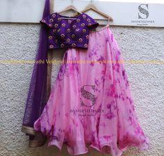 Beautiful blush pink color lehenga and purple color designer blouse with hand embroidery thread work. Half Saree Lehenga, Kids Lehenga, Anarkali Dress, Saree Blouse, Half Saree Designs, Lehenga Designs, Kids Dress Wear, Kids Wear, Boy Dress