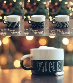 DIY chalkboard mug Love this idea as gifts with candy & goodies stuffed inside.