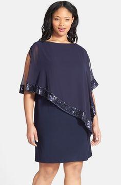 Xscape Sequin Trim Chiffon Overlay Jersey Sheath Dress (Plus Size)