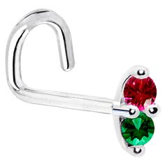 20 Gauge LEFT Nostril - 14K White Gold Red Green 1.5mm CZ Marquise Nose Ring | Body Candy Body Jewelry