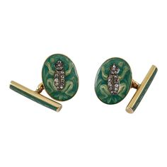 Rare Pair of Green Enamel Gold Cufflinks | From a unique collection of vintage cufflinks at http://www.1stdibs.com/jewelry/cufflinks/cufflinks/