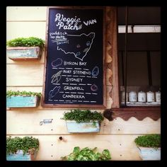 Chalkboards showing where we get our fresh seasonal produce from in NSW. Paddock to plate