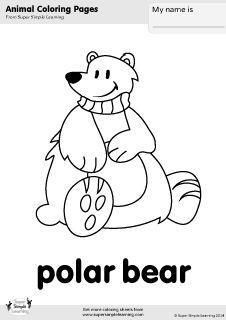 Free Polar Bear Coloring Page From Super Simple Learning Tons Of Animal Worksheets And