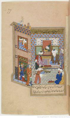 """""""The Sayḩ Nagm al-Dīn Kubra brings a sword Sultan Muhammad Hwārazmšāh to expiate the murder of Magd al-Dīn Baghdadi"""". . 3) - F. 116 (158 x 163)"""