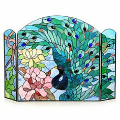 "Tiffany-Style 27"" Fantastic Feodora Stained Glass Fireplace Screen Stained Glass Birds, Stained Glass Panels, Stained Glass Patterns, Leaded Glass, Mosaic Art, Mosaic Glass, Glass Art, Mosaics, Stained Glass Fireplace Screen"