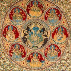 Auspicious Ashtalakshmi Mandala with Central Ganesha Mysore Painting, Kalamkari Painting, Tanjore Painting, Mughal Paintings, Indian Paintings, Lord Shiva Painting, Madhubani Art, Indian Folk Art, Durga Goddess