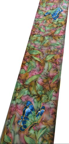 Hand Painted Silk Scarf - Hand Painted Silk Art - Quintessence by Shauna Blake - Butterfly Garden