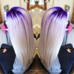 Purple crown lights and platinum white hair. Beautiful. combination by stylist and educator Stefani Picchi. #pravana HOT Beauty Magazine instagram.com/hotonbeauty