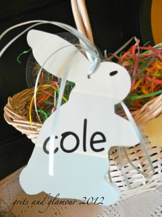 The Everyday Home: Basket name tags made from paint chips and scrapbook sticker letters.