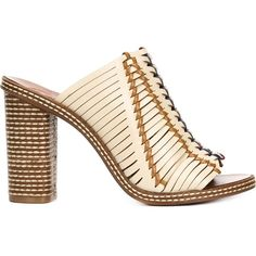 Tory Burch woven mules featuring polyvore women's fashion shoes multicolor mule shoes woven leather shoes multicolor shoes tory burch leather mules