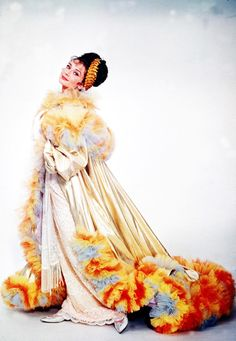 Audrey Hepburn modeling one of the costumes from My Fair Lady by designer Cecil Beaton, 1963
