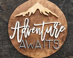 ADVENTURE | rustic decor | Name Sign | Custom Sign | Wood Cutout | Home Decor | 3D Letters | Nursery Decor | Adventure