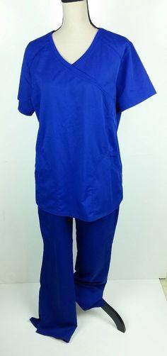 705f449a37d ScrubStar Women Large Medium Scrub Top Pants Solid Blue 2 Piece Nurse  Medical #Scrubstar Scrub