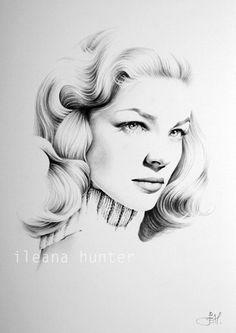 Lauren Bacall Original Pencil Drawing Minimalism Fine Art Portrait