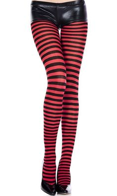 5b1c4abcf8a9d Music Legs - Striped Black/Red Pantyhose Red Pantyhose, Halloween Music,  Gothic Steampunk