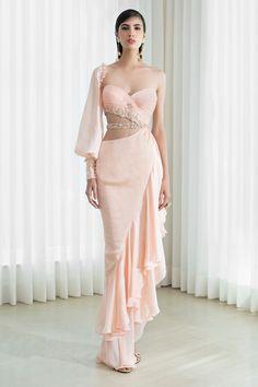 One Shoulder Gown, Prom Dresses, Formal Dresses, Designer Gowns, Jacket Dress, Blouse Designs, Skirt Set, Fashion Dresses, Chiffon
