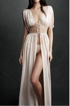 """Silk dressing gown (""""peignoir,"""" if you're feeling fancy) with a sheer lace waistband. Perfect for your boudoir!"""