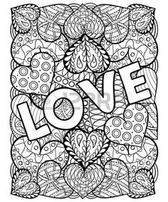 Valentines Day Artistically Ornamental Patterned Hearts With Love In Doodle Zentangle Tribal Style For Adult Coloring Pages Tattoo T Shirt Or Prints