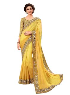 Shop Party Wear Shaded Yellow Color Georgette Mirror Work Embroidered Saree by Swastik Creation online. Largest collection of Latest Sarees online. ✻ 100% Genuine Products ✻ Easy Returns ✻ Timely Delivery