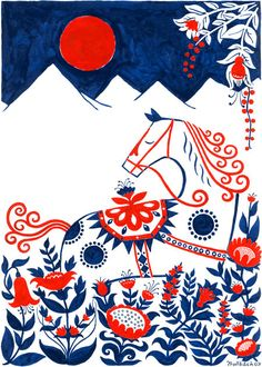 Dala Horse poster by Henning Trollback. The Dala Horse is a Swedish national symbol based on traditional toy horses from Dalarna decorated with traditional floral kurbits patterns Illustration Mode, Illustrations, Horse Posters, Poster Design, Print Poster, Print Design, Graphic Design, Design Color, Fabric Design