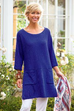 Paris Boatneck - Multi-directional Knit, Three-quarter Length Dolman Sleeves, Waist Seam, Side Slits | Soft Surroundings Outlet
