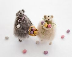 Easter Rat with Basket/Easter Egg Hunt-Mohair Knitted Animal/Mice-Spring Pastels-Easter Home Decoration-Knitted toys-Woolly Fluffy Furry-UK